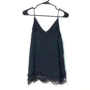 Topshop Navy Lace Trim Cami 6 Satin Silky